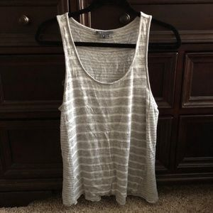 Vince Grey and white striped tank top